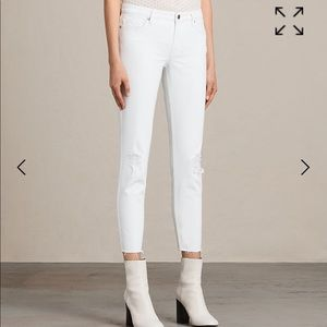 All Saints NWT White Mast Ankle Destroyed Jeans